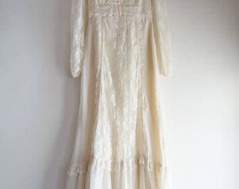 Ethereal boho prairie festival 1970s cream wedding dress sz. XS / Small