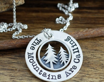 Mountain Necklace, The Mountains are Calling, Nature Jewelry, Pine Tree Necklace, Tree and Mountain Necklace, Adventure Jewelry