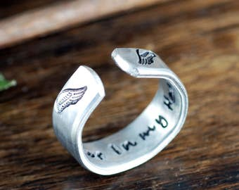 Forever in my Heart,  Memorial Ring, Secret Message Ring, Sympathy Gift, Bereavement Jewelry, Personalized Ring, Personalized Cuff Ring,