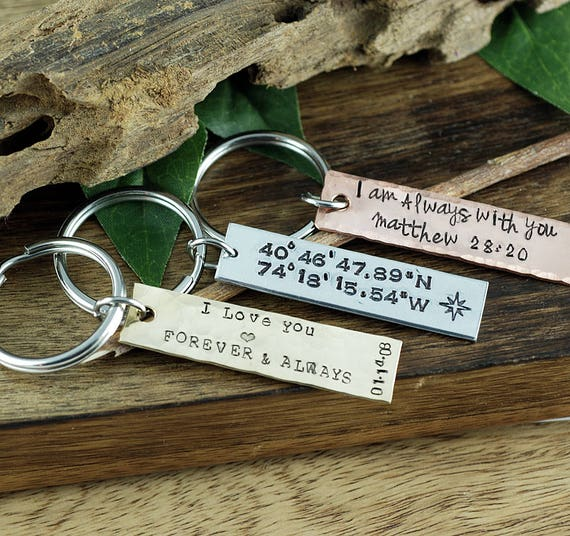 Engraved Keychains, Personalized KeyChain, Coordinates KeyChain, Bible Verse Keychain, Religious KeyChain, Gift for Him, Girlfriend Keychain