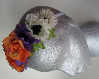 Orange rose flower tiara, white satin band, silk flower hair, bridal flower headpiece, flower girl hair accessories