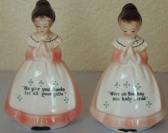 Vtg Praying Ladies Salt and Pepper Shakers by Enesco Japan