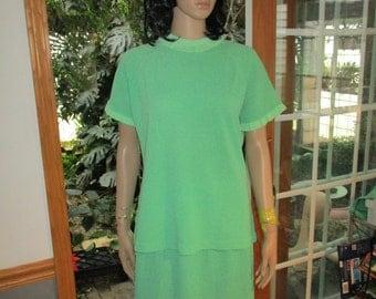 Vintage Talbott  Green 100% Dacron Polyester Traveler Outfit  3 Piece Set Long Sleeve & Short Sleeve  Shirts with Skirt