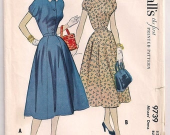 1954 Dress Pattern McCalls 9739 Front Bodice Buttons Four Gore Skirt Belt Pattern 50s fashion Vintage Sewing Size 12 Bust 30