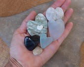 Natural hearts - Love heart flock of seven - handmade gem stone, glass, shell hearts from Australia - Quartz, Rhyolite, black Obsidian heart