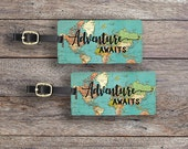 Luggage Tag Set Adventure Awaits Vintage Map Metal Luggage Tag Set With Printed Custom Info On Back, 2 Tags Choice of Straps Version 3