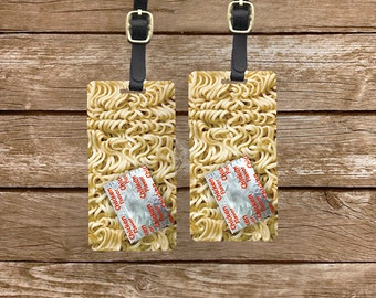 Luggage Tags Ramen Noodles Funny Food Set,  Printed Personalized Metal Tags, 2 Tags Custom information on Backs Choice of Straps