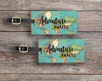 Luggage Tags Adventure Awaits Vintage Map Metal Luggage Tag With Printed Custom Info On Back,Single Tag or Set Available  Version 3