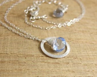 Necklace with a Brushed Sterling Silver Loop and a Blue Crystal Teardrop Bead Wire Wrapped with Sterling Silver Wire CDN-707
