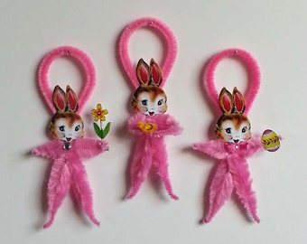 Chenille Easter Ornaments 3 - Feather Tree Ornaments - Easter Bunny Rabbit - Vintage Easter Image