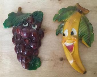 Anthropomorphic Fruit, Chalkware Fruit, Purple Grapes and Banana, Circa 1940s / 1950s, Mid Century Kitchen, Kitchen Kitsch, Cartoon Fruit
