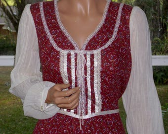 Gunne Sax Style Boho Dress with Tie Corset from Montgomery Wards Large