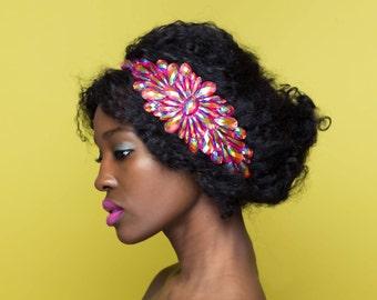 Iridescent Jewel Headband, Pink Rhinestone Headband, Natural Hair Headband, Jewel Applique Headband, Hair Accessory for Updos, Prom Headband