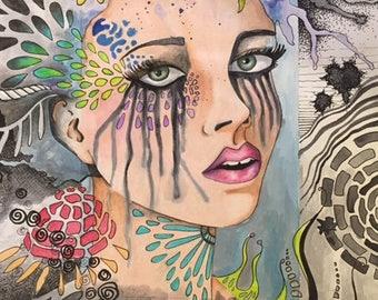 Sad Girl surreal drawing