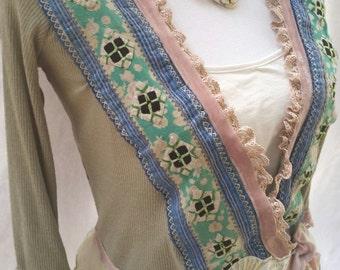 bohemian clothing, handmade jacket, romantic top, boho, embroidered cardigan, gypsy cardigan, gypsy jacket, hippy jacket