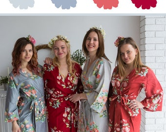Silver, Gray, Marsala and Cranberry Wedding Color Bridesmaids Robes