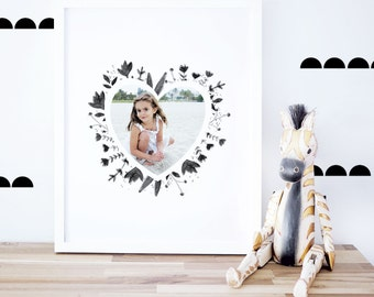 Custom Heart Photo Design, Personalized Artwork, Gift Idea, Kids Decor, Girls Room Art, Art Print, 8x10 16x20. Custom Heart Photo Print