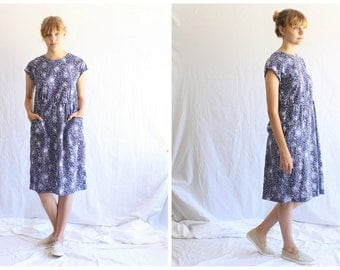 vintage Indian cotton floral midi dress