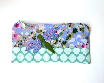 "Zipper Pouch, 4.75x9"" in Pink, Green, Purple, Teal and Cream floral print fabric with Handmade Felt Dragon Fly Embellishment, Pencil Case"