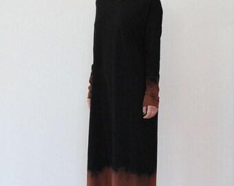 Hand dyed black maxi t shirt dress, black maxi dress, maxi dress