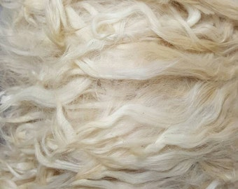 "Suri Alpaca Locks, 6"" Natural White Unwashed Locks,  Alpaca, Doll Hair,  Long Locks"
