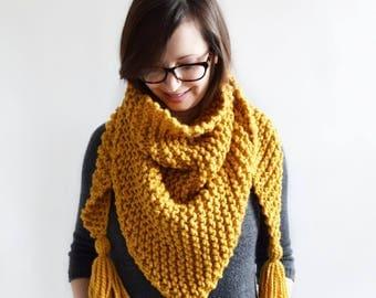 Knit Triangle Scarf // Chunky Knit Scarf // Tassel Shawl // Tassel Scarf