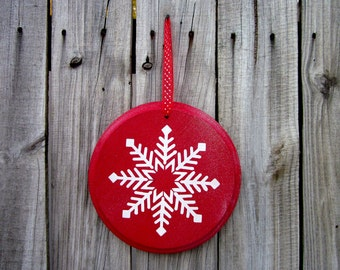 Snowflake Sign, Red, Glittery, Sparkly, Painted Wood, Holiday Decor, Door Hanger, Round Wood Sign, White Snowflake, Christmas, Winter Sign