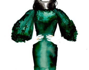 The Emerald Dress, print from original watercolor fashion illustration by Jessica Durrant