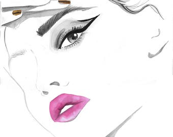 Extreme Cat Eye, print from original watercolor and mixed media beauty illustration by Jessica Durrant