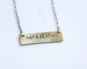 Mama Bear Bar Mom Necklace | Gift For Mom | Baby Shower Gift | Baby Bear Gift For New Mom | Jewelry For Mom