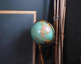 Vintage 1960s Standing World Globe on Wood Pedestal Base