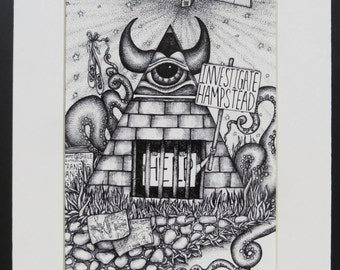 Investigate Hampstead Conspiracy Art Cover-up Matted Print Illuminati All Seeing Eye
