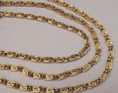 "MONET Gold Chain, Monet Gold Necklace, Monet Gold Paper Clip Chain, Vintage Monet Gold Chain, 54"" Monet Gold Chain, Signed Monet Necklace"