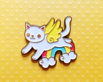 rainbow kitten - enamel lapel pin