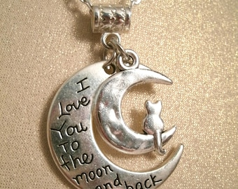 Kitty Cat Necklace Moon I love you to the moon and back Silver plated Charm Moon Necklace