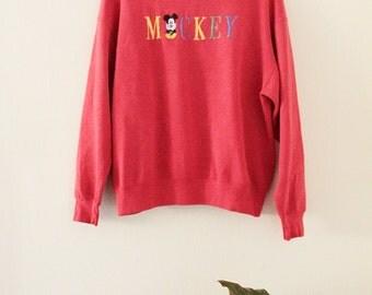 90's Red Mickey Sweatshirt