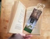 Irish bookmark,art print bookmark, pressed shamrock, bookmarker, literary gifts, gift for a reader, bookworm, shamrock clover, Irish cottage