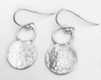 Small Hammered Earrings - Simple Sterling Silver Earrings - Everyday Jewelry