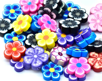 Flower Beads, 25pcs, 18x5mm, 1mm Hole, Fimo Beads, Floral Beads -C651