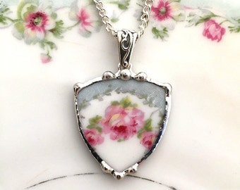 Broken china jewelry necklace pendant, rose shield antique porcelain, broken plate necklace