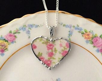 Necklace, Broken China Jewelry, Broken China Necklace, Heart Pendant, Pink Rose China, Broken China, Soldered Jewelry
