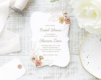 Printable Bridal Shower Template | INSTANT DOWNLOAD | Wildflowers | Word or Pages Mac & PC | 5x7 | Everly Paper Compatible