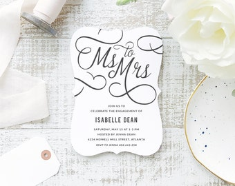 Printable Bridal Shower Template | INSTANT DOWNLOAD | Ms. to Mrs. | Word or Pages Mac & PC | 5x7 | Everly Paper Compatible