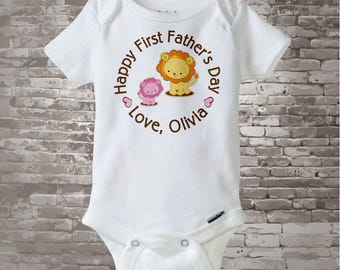 Happy First Father's Day, 1st Fathers Day with Father and Daughter Lions Personalized DadTee Shirt or Onesie New Dad Gift 06032014f