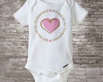 Girl's Will You Be My Godparents with Pink Heart Tee Shirt or Onesie (06062013b)