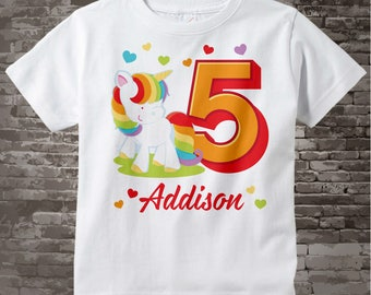 5th Birthday Girl Unicorn Birthday Shirt, Personalized Girl's Fifth Birthday Shirt, Rainbow Unicorn Birthday Theme 02032017a