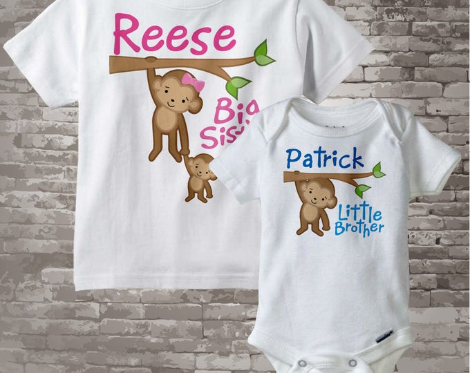 Big Sister Little Brother Shirt set of 2, Sibling Shirt, Personalized T-shirt or Onesie with Cute Monkeys - Price is for both - 12242013a