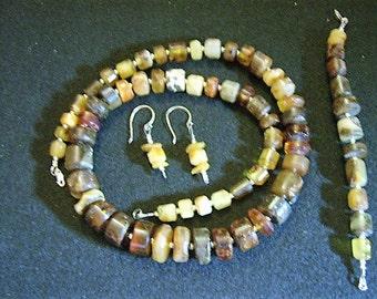 Vintage Raw Baltic Amber Jewelry Set