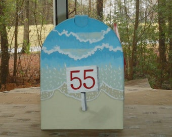 Shore Mailbox, Hand Painted, personalized with waves crashing on the beach, a great housewarming gift
