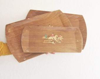 vintage Hasko equestrian tray set of three . mid century wood grain fox hunter lithograph .sale s a l e